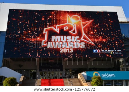 CANNES, FRANCE-JANUARY 24: Conference Hall  facade shown on January 24, 2013 in Cannes, France. MIDEM is the international market of publishing music, and the fourteenth ceremony of  NRJ Music Awards. - stock photo