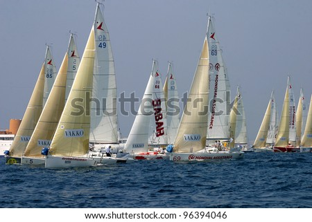 CANNES, FRANCE - JULY 23: Cannes-Istanbul Figaro Yacht Race. Race, begins from the coast of Cannes, July 23, 2006. Cannes, France - stock photo