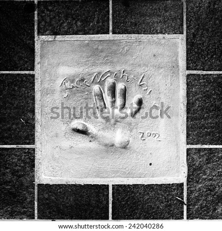 CANNES, FRANCE - JUN 25, 2014: Jack Nicholson hand mark on the alley of fame in Cannes, Cote d'Azur, France - stock photo