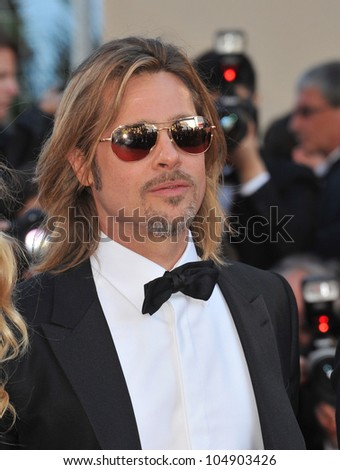 "CANNES, FRANCE - MAY 22, 2012: Actor Brad Pitt at the gala screening of his new movie ""Killing Them Softly"" in competition at the 65th Festival de Cannes on May 22, 2012  Cannes, France - stock photo"