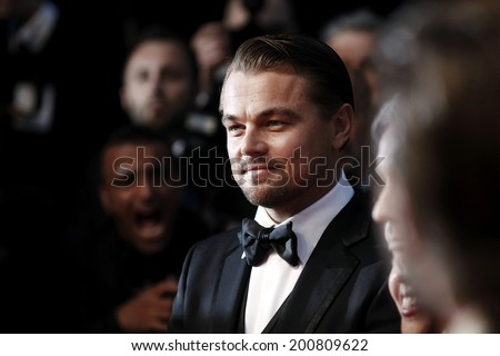 CANNES, FRANCE - MAY 15: Actor Leonardo DiCaprio attends the Premiere of 'The Great Gatsby' at The 66th Cannes Film Festival Festivals on May 15, 2013 in Cannes, France - stock photo