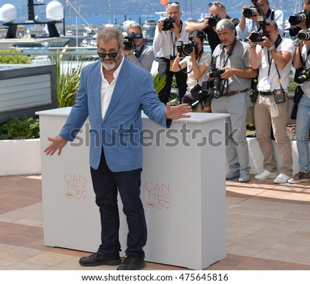 "CANNES, FRANCE - MAY 21, 2016: Actor Mel Gibson at the photocall for ""Blood Father"" at the 69th Festival de Cannes."