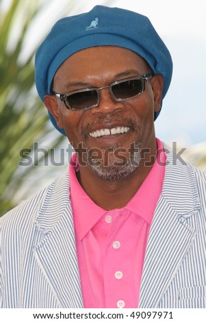 CANNES, FRANCE - MAY 15: Actor Samuel L. Jackson attends a photocall promoting the film 'Star Wars Episode III' at the Palais during the 58th  Cannes Film Festival on May 15, 2005 in Cannes, France - stock photo