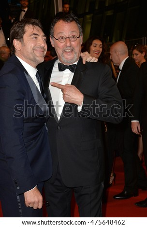"CANNES, FRANCE - MAY 20, 2016: Actors Javier Bardem & Jean Reno at the gala premiere for ""The Last Face"" at the 69th Festival de Cannes."