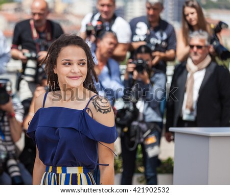 Cannes, France - 15 MAY 2016 - Actress Sasha Lane attends the 'American Honey' photocall during the 69th annual Cannes Film Festival - stock photo