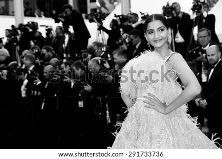 CANNES, FRANCE- MAY 18: Actress Sonam Kapoor attends the Premiere of 'Inside Out' during the 68th Cannes Film Festival on May 18, 2015 in Cannes, France. - stock photo