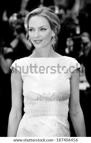 CANNES, FRANCE - MAY 14: Actress Uma Thurman attends the 'Pirates of the Caribbean' Premiere during the 64th Cannes Film Festival on May 14, 2011 in Cannes, France. - stock photo