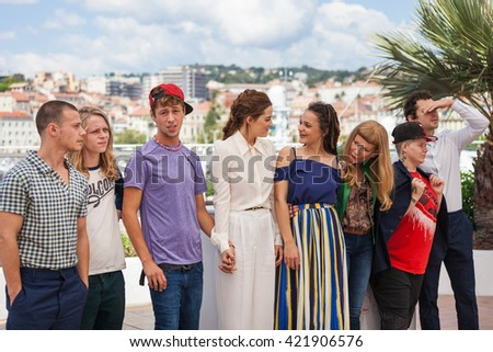 Cannes, France - 15 MAY 2016 - Actresses Riley Keough, Sasha Lane, director Andrea Arnold, Veronica Ezell and actor Shia LaBeouf attend the 'American Honey' photocall during 69 Cannes Film Festival - stock photo