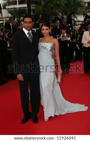 CANNES, FRANCE - MAY 14: Aishwarya Rai and Abhishek Bachchan attend the 'Spring Fever' premiere held at the Palais Des Festival during the 62 Cannes Film Festival on May 14, 2009 in Cannes, France. - stock photo