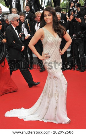 "CANNES, FRANCE - MAY 21, 2014: Aishwarya Rai at the gala premiere of ""The Search"" at the 67th Festival de Cannes.  - stock photo"