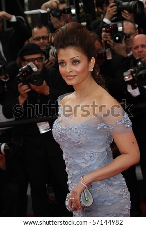 CANNES, FRANCE - MAY 12: Aishwarya Rai attend the 'Robin Hood' Premiere at the Palais des Festivals during the 63rd Cannes Film Festival on May 12, 2010 in Cannes, France - stock photo