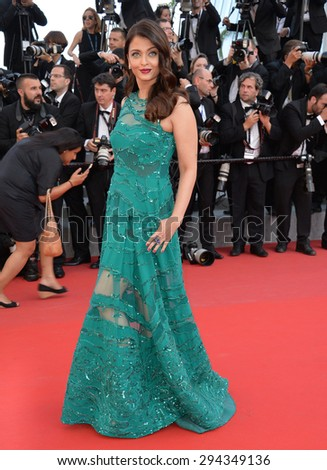 """CANNES, FRANCE - MAY 17, 2015: Aishwarya Rai Bachchan at the gala premiere of """"Carol"""" at the 68th Festival de Cannes. - stock photo"""