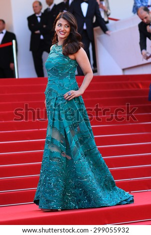 "CANNES, FRANCE - MAY 17, 2015: Aishwarya Rai Bachchan at the gala premiere of ""Carol"" at the 68th Festival de Cannes. - stock photo"