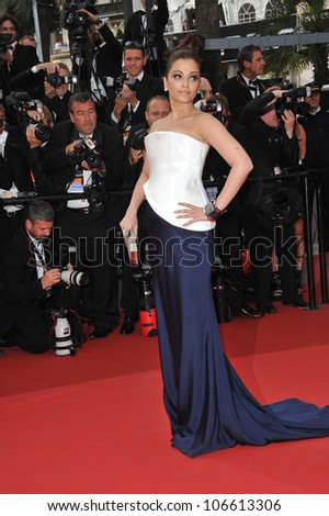 """CANNES, FRANCE - MAY 12, 2011: Aishwarya Rai Bachchan at the premiere of """"Sleeping Beauty"""" in competition at the 64th Festival de Cannes. May 12, 2011  Cannes, France - stock photo"""