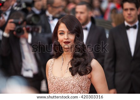Cannes, France - 14 MAY 2016 - Aishwarya Rai Bachchan attends 'The BFG' premier during the 69th Annual Cannes Film Festival - stock photo