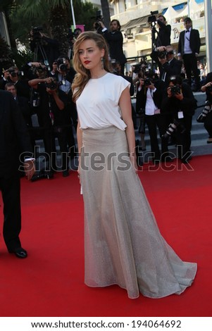 CANNES, FRANCE - MAY 20: Amber Heard attends the 'Two Days, One Night' premiere at the 67th Annual Cannes Film Festival on May 20, 2014 in Cannes, France. - stock photo
