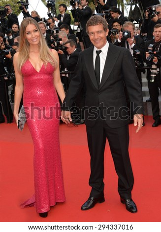 """CANNES, FRANCE - MAY 19, 2015: Antonio Banderas & Nicole Kempel at the gala premiere for """"Sicario"""" at the 68th Festival de Cannes. - stock photo"""