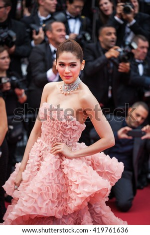 Cannes, France - 11 MAY 2016 - Araya A. Hargate attends the screening of 'Cafe Society' at the opening gala of the annual 69th Cannes Film Festival at Palais des Festivals - stock photo
