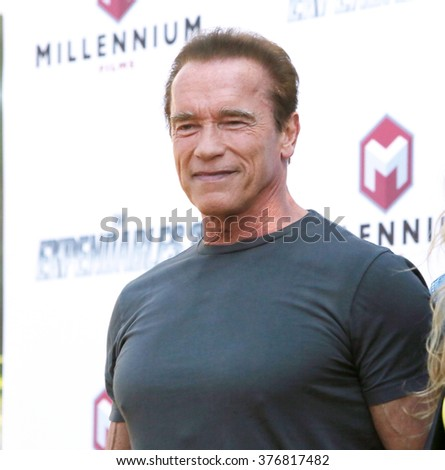 "CANNES, FRANCE - MAY 18, 2014: Arnold Schwarzenegger at the photocall for his movie ""The Expendables 3"" on the Croisette at the 67th Festival de Cannes."