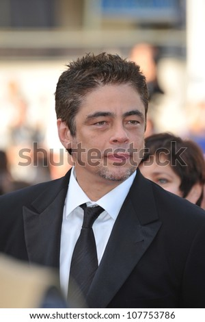 "CANNES, FRANCE - MAY 17, 2010: Benicio Del Toro at the premiere of ""Beautiful"" in competition at the 63rd Festival de Cannes."