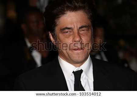CANNES, FRANCE - MAY 23: Benicio Del Toro attends the 'Holy Motors' Premiere during the 65th Annual Cannes Film Festival at Palais des Festivals on May 23, 2012 in Cannes, France. - stock photo