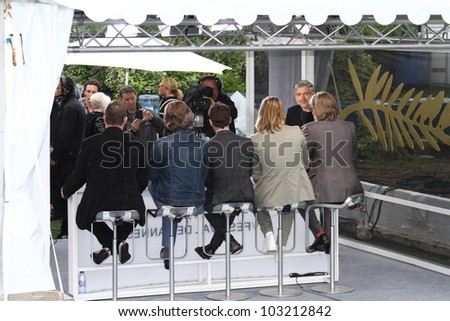 CANNES, FRANCE - MAY 22: Brad Pitt, Andrew Dominik, Ray Liotta attend at the 'Killing Them Softly' photocall during the 65 Cannes  Festival at Palais des Festivals on May 22, 2012 in Cannes, France. - stock photo