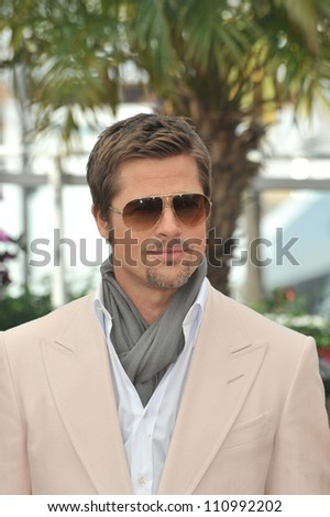 """CANNES, FRANCE - MAY 20, 2009: Brad Pitt at the photocall for his new movie """"Inglourious Basterds"""" in competition at the 62nd Festival de Cannes. - stock photo"""