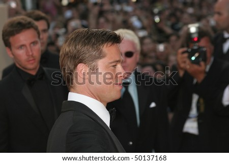 CANNES, FRANCE - MAY 24: Brad Pitt   attends the premiere for the film 'Ocean's Thirteen' at the Palais des Festivals during the 60 International Cannes Film Festival on May 24, 2007 in Cannes, France - stock photo