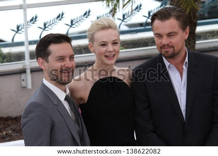 CANNES, FRANCE - MAY 15: Carey Mulligan, Tobey Maguire attend 'The Great Gatsby' photocall during the 66th Annual Cannes Film Festival at the Palais des Festivals on May 15, 2013 in Cannes, France. - stock photo