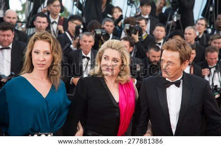 CANNES, FRANCE - MAY 13: Catherine Deneuve. Opening Ceremony 'La Tete Haute' Premiere. 68th Annual Cannes Film Festival at Palais des Festivals on May 12, 2015 in Cannes, France. - stock photo