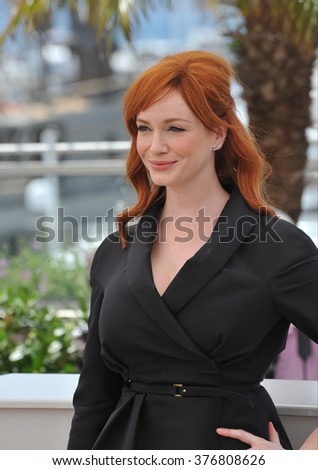 "CANNES, FRANCE - MAY 20, 2014: Christina Hendricks at the photocall for her movie ""Lost River"" at the 67th Festival de Cannes."