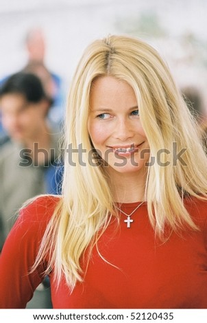 CANNES, FRANCE - MAY 15: Claudia Schiffer  at Cannes for L'Oreal hair models the Palais des Festivals on May 15, 2000 in Cannes, France - stock photo