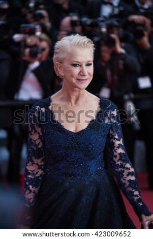 Cannes, France - 18 MAY 2016 - Dame Helen Mirren attends 'The Unknown Girl (La Fille Inconnue)' Premiere during the 69th annual Cannes Film Festival - stock photo