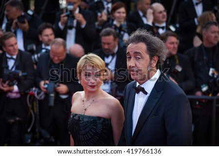 Cannes, France - 11 MAY 2016 - Daniela Sorrentino and Paolo Sorrentino attend the 'Cafe Society' premiere and the Opening Night Gala during the 69th annual Cannes Film Festival - stock photo