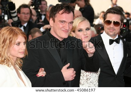 CANNES, FRANCE - MAY 20: Diane Kruger, Brad Pitt, Quentin Tarantino and Melanie Laurent attend the Inglourious Basterds  during the 62nd  Cannes Film Festival on May 20, 2009 in Cannes, France - stock photo