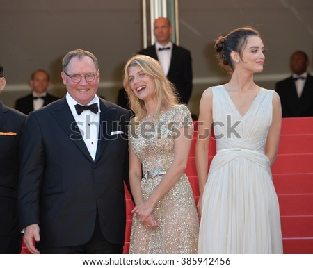 "CANNES, FRANCE - MAY 18, 2015: Disney/Pixar boss John Lasseter with actresses Melanie Laurent & Charlotte Le Bon at the gala premiere of Disney/Pixar's ""Inside Out"" at the 68th Festival de Cannes."