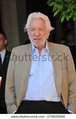 "CANNES, FRANCE - MAY 17, 2014: Donald Sutherland at photo call for his movie ""The Hunger Games: Mockingjay - Part 1"" at the 67th Festival de Cannes."