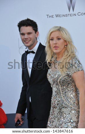 CANNES, FRANCE - MAY 23, 2013: Ellie Goulding & Jeremy Irvine at amfAR's 20th Cinema Against AIDS Gala at the Hotel du Cap d'Antibes, France