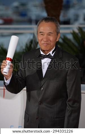 CANNES, FRANCE - MAY 24, 2015: Emmanuelle Bercot - winner of Best Director Award - at the winners' photocall at the 68th Festival de Cannes. - stock photo