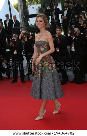 CANNES, FRANCE - MAY 20: Eva Herzigova attends the 'Two Days, One Night' premiere at the 67th Annual Cannes Film Festival on May 20, 2014 in Cannes, France. - stock photo