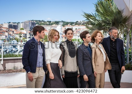 Cannes, France - 19 MAY 2016 - Gaspard Ulliel, Lea Seydoux, Marion Cotillard, Xavier Dolan, Nathalie Baye and Vincent Cassel attend 'It's Only The End Of The World (Juste La Fin Du Monde)' Photocall