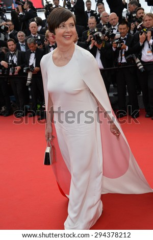 CANNES, FRANCE - MAY 13, 2015: Isabella Rossellini at the gala opening ceremony of the 68th Festival de Cannes.