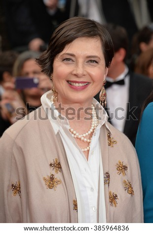 "CANNES, FRANCE - MAY 14, 2015: Isabella Rossellini at the gala premiere of ""Mad Max: Fury Road"" at the 68th Festival de Cannes. - stock photo"