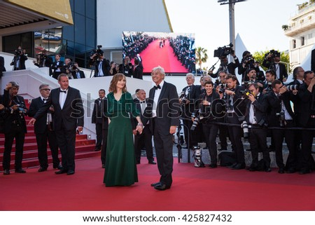 Cannes, France - 21 MAY 2016 - Isabelle Huppert and Paul Verhoeven attend the screening of 'Elle' at the annual 69th Cannes Film Festival
