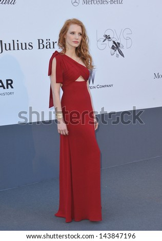CANNES, FRANCE - MAY 23, 2013: Jessica Chastain at amfAR's 20th Cinema Against AIDS Gala at the Hotel du Cap d'Antibes, France  - stock photo