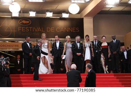 CANNES, FRANCE - MAY 11:  Jury members and Robert De Niro, attend the Opening Ceremony and 'Midnight In Paris' Premiere at the Palais during the 64th Cannes  Festival on May 11, 2011 in Cannes, France - stock photo