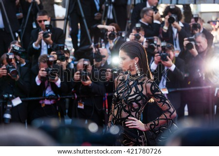 Cannes, France - 15 MAY 2016 - Kendal Jenner attends a screening of 'From The Land And The Moon (Mal De Pierres)' at the annual 69th Cannes Film Festival - stock photo