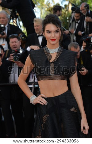 "CANNES, FRANCE - MAY 20, 2015: Kendall Jenner at the gala premiere for ""Youth"" at the 68th Festival de Cannes.