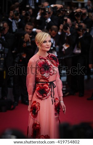 Cannes, France - 11 MAY 2016 - Kirsten Dunst attends the screening of 'Cafe Society' at the opening gala of the annual 69th Cannes Film Festival - stock photo