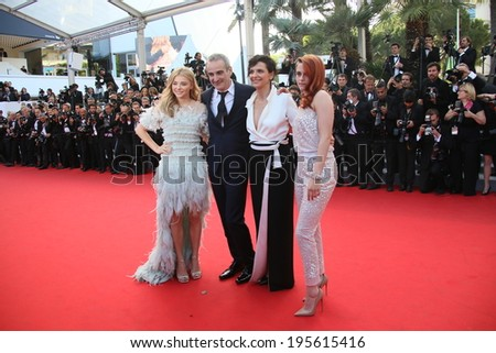 CANNES, FRANCE - MAY 23: Kristen Stewart and Juliette Binoche attend the 'Clouds Of Sils Maria' premiere at the 67th Annual Cannes Film Festival on May 23, 2014 in Cannes, France. - stock photo